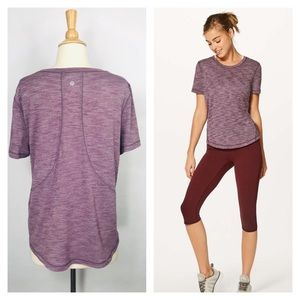 Lululemon Long Distance Tee Heathered Garnet